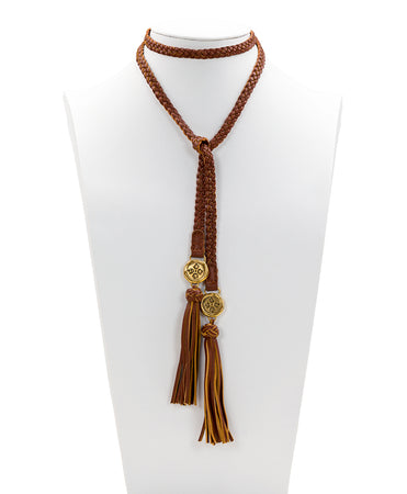 Leather Lariat Braided Necklace - Tan