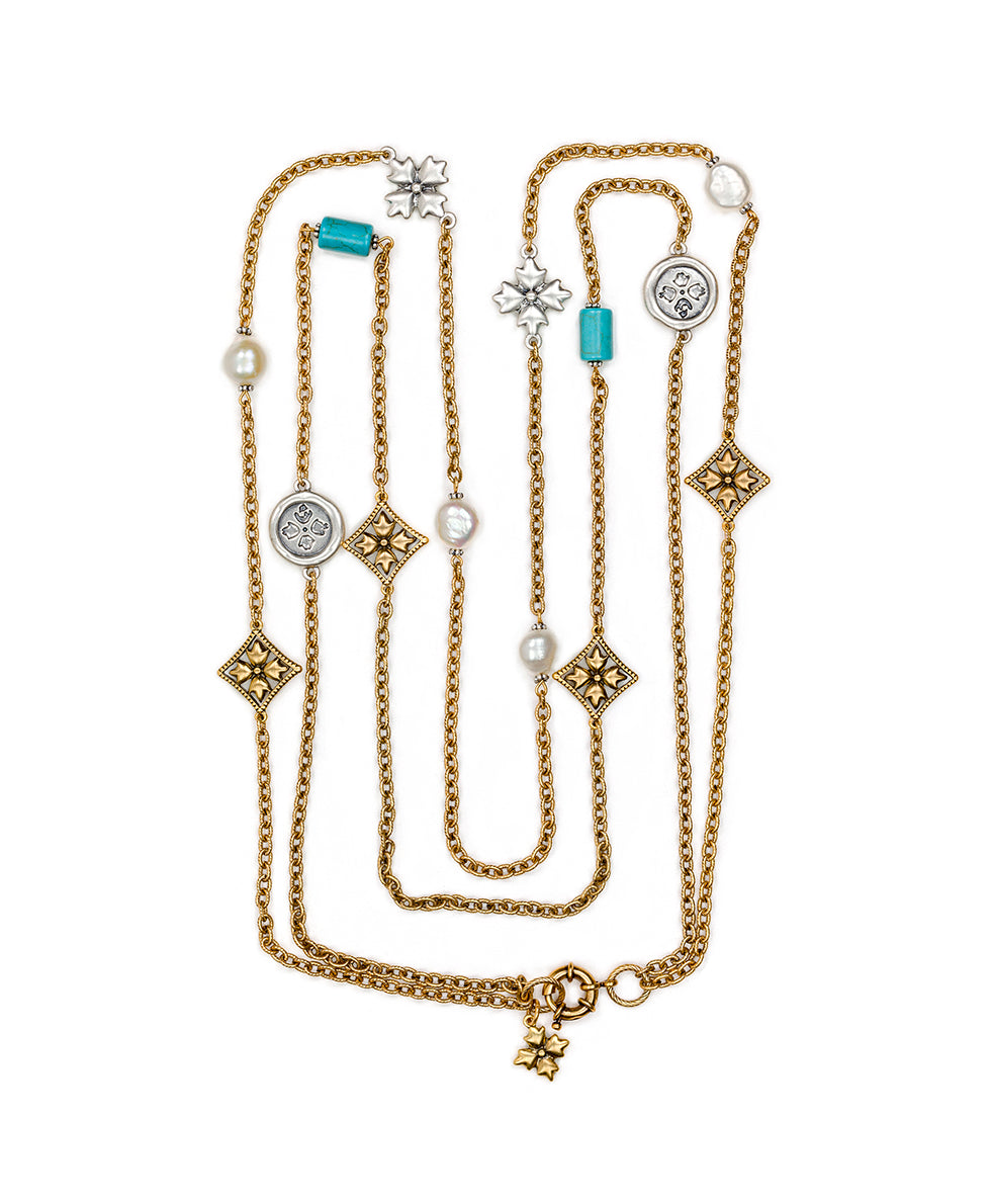 Floret Charm Double Station Necklace - Russian Gold / Silver Ox