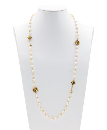 Floret Charm Pearl Single Station Necklace - Russian Gold