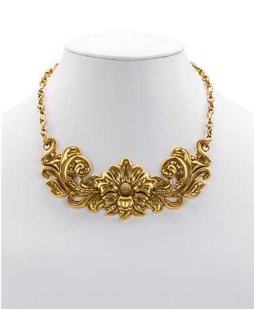 Tooled Flower Adjustable Necklace - Russian Gold