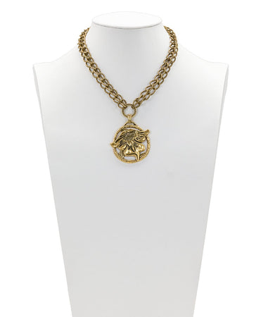 Medallion Double Chain Necklace - Tooled Flower & Vine - Russian Gold
