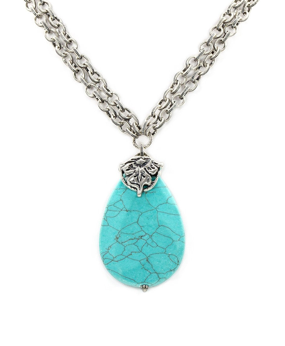 Double Chain Stone Pendant Necklace - Tooled Flower & Vine 2