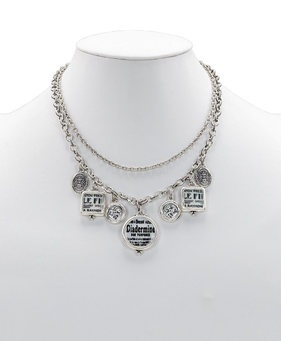Double Chain Charm Necklace - Newspaper