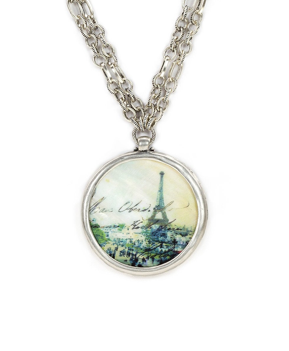 Double Chain Medallion Necklace - Paris Postcard 2