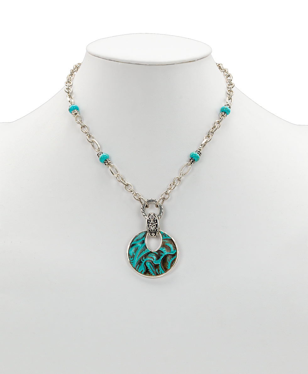 Romula Doorknocker Turquoise Pendant Necklace