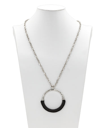 Carmelina Wrapped Ring Pendant Necklace - Black