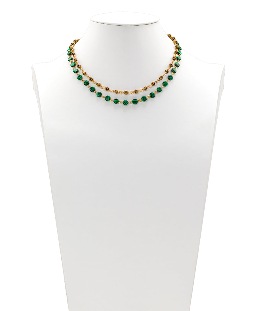 Short Modular Malachite Necklace - Floret Charm 3