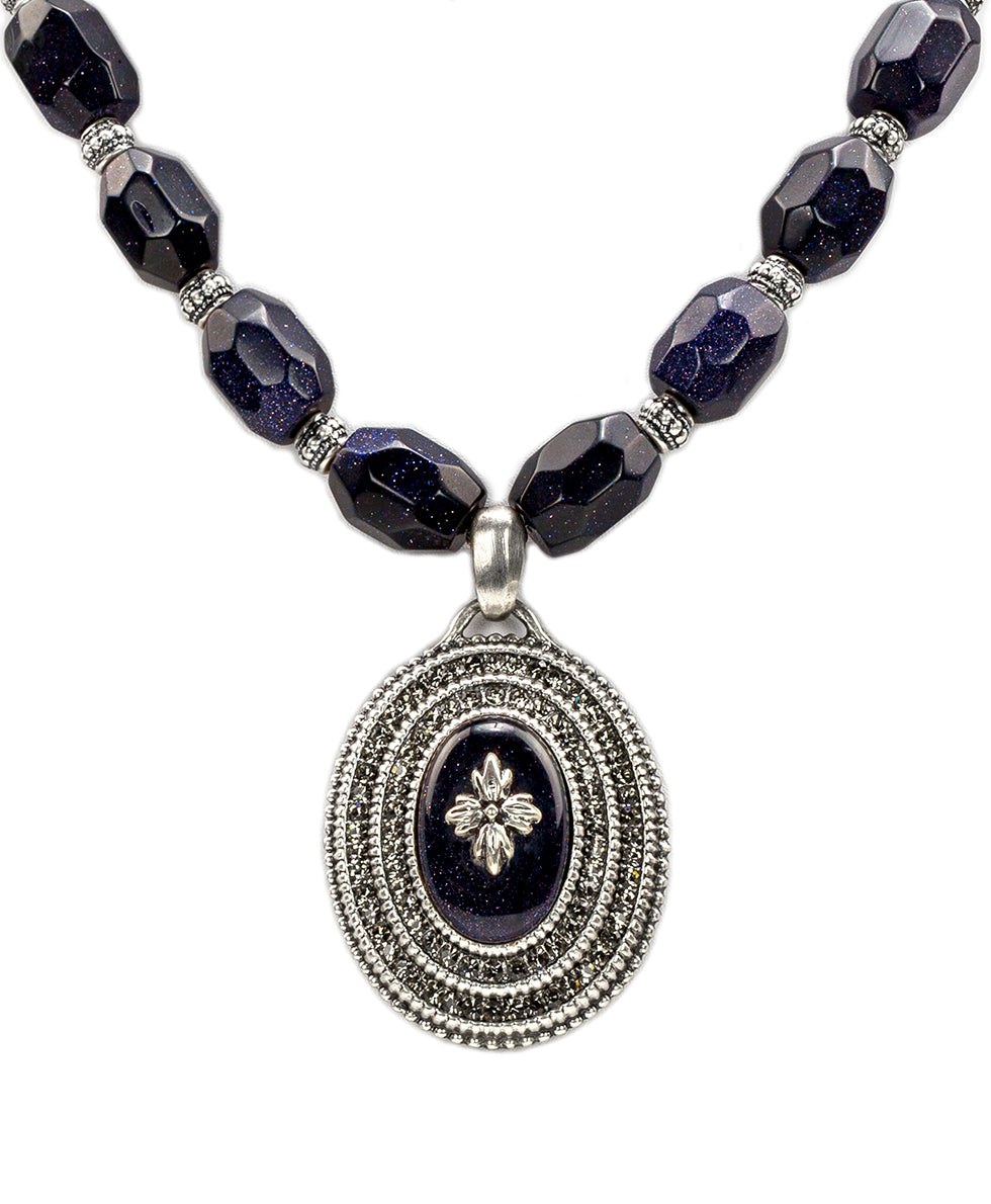 Floret Medallion Necklace - Blue Goldstone 2