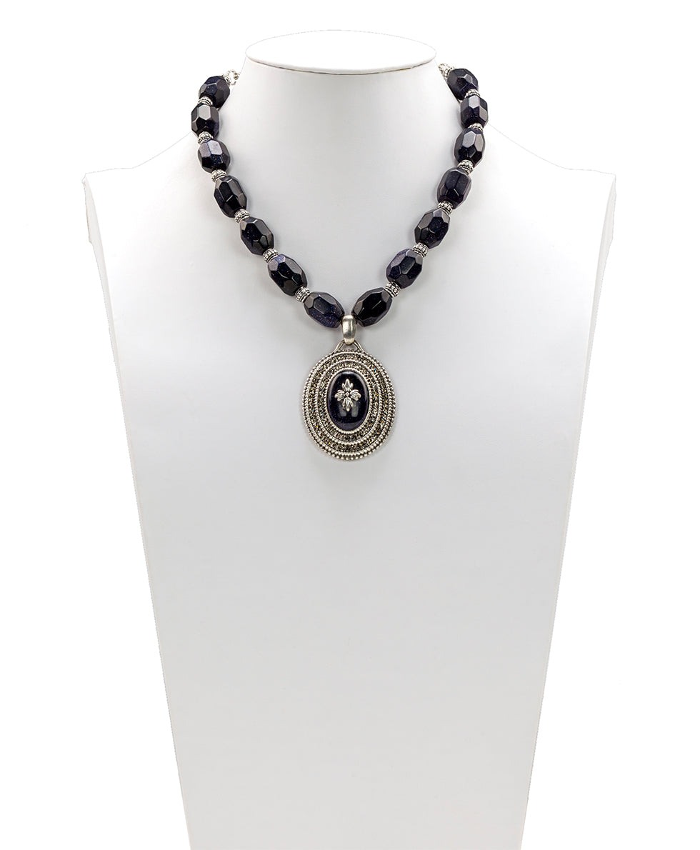 Floret Medallion Necklace - Blue Goldstone