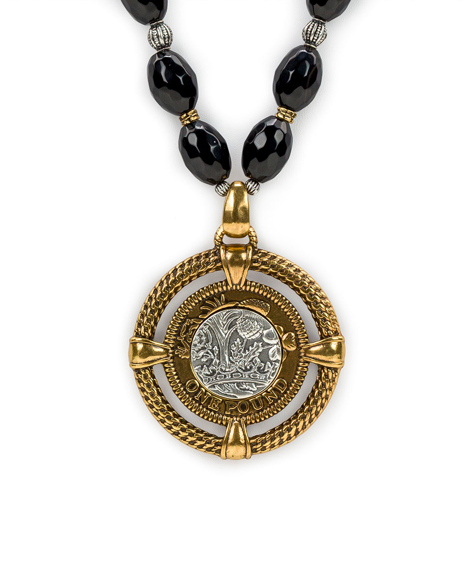 Beaded Medallion Necklace - World Coin 2