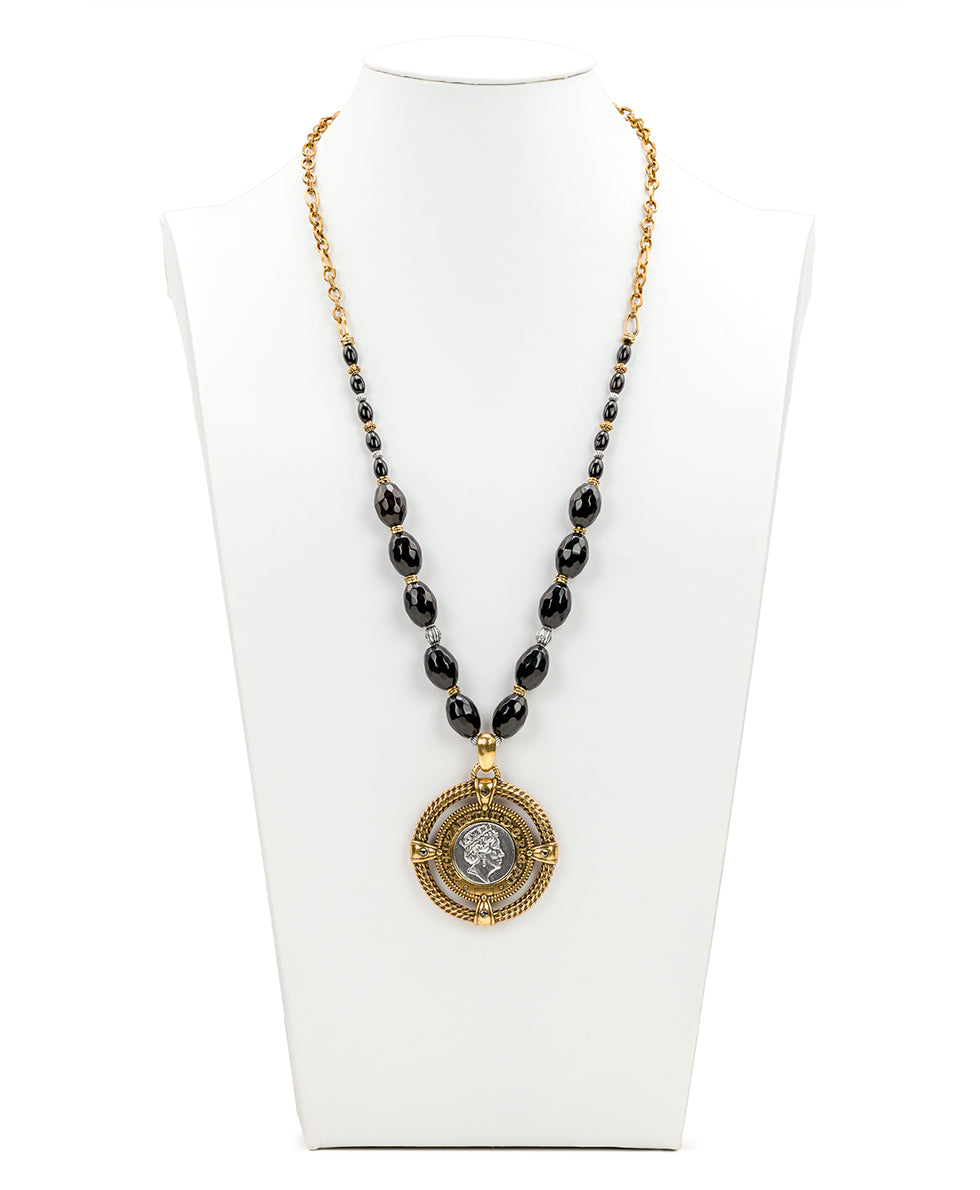 Beaded Medallion Necklace - World Coin