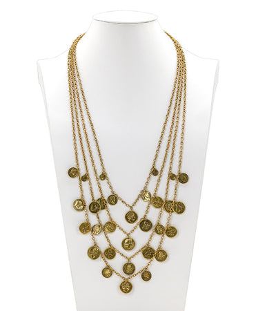 Multi Strand Coin Necklace - World Coin - Russian Gold