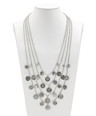Multi Strand Coin Necklace - World Coin - Silver Ox