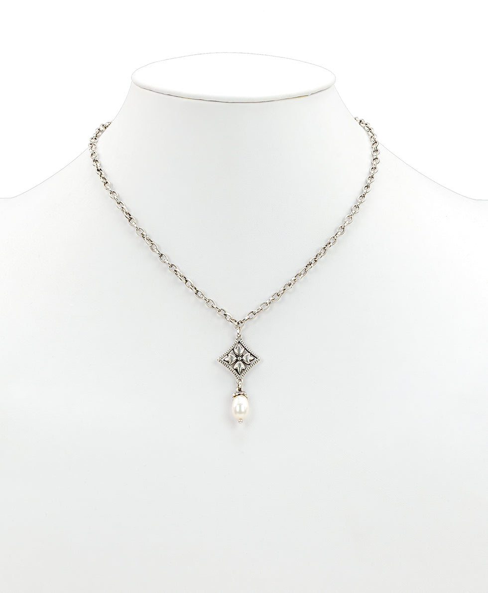 Caged Floret Pearl Necklace