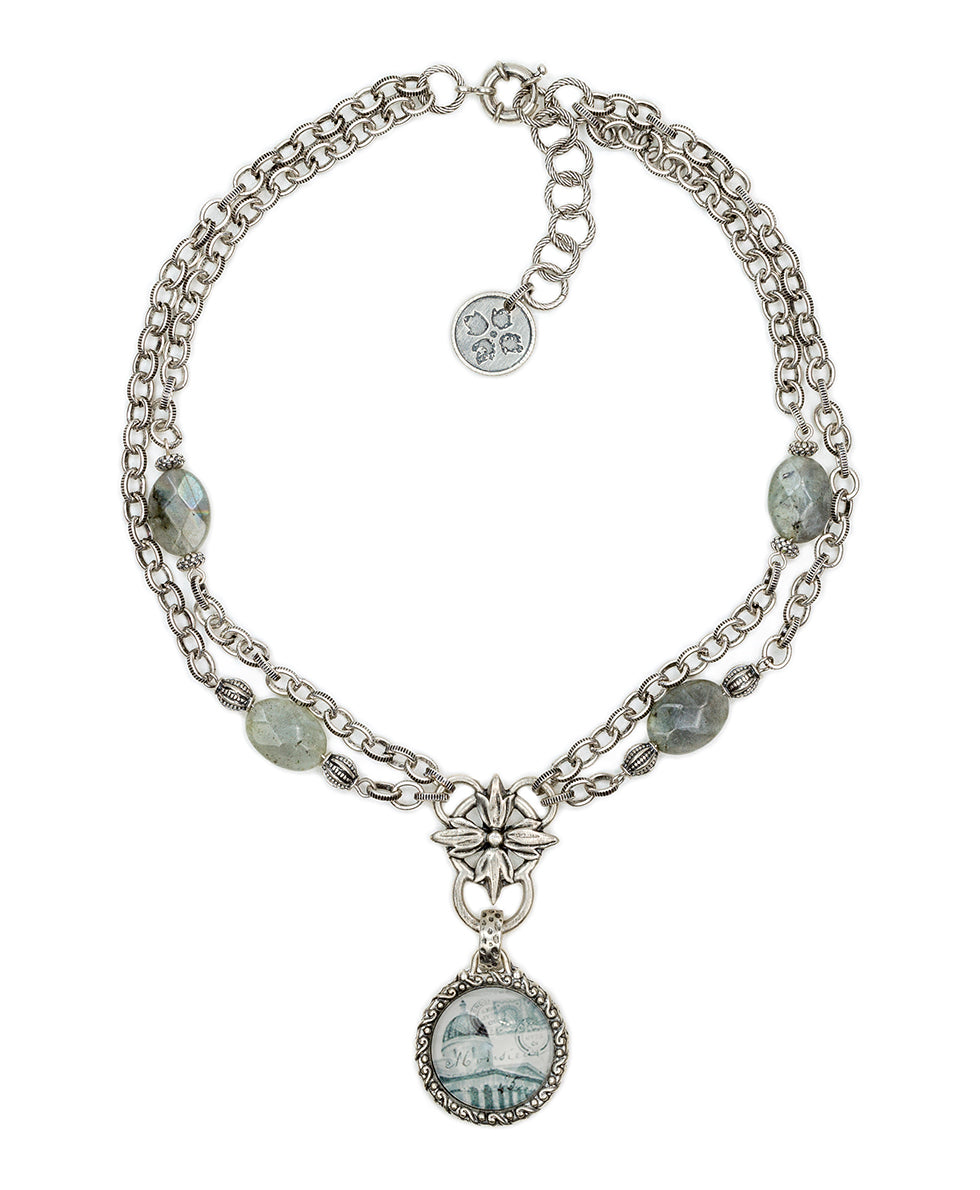 Pendant Necklace National Gallery Grey Labradorite 2