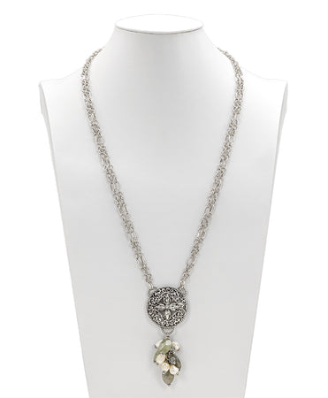 Stone Floret Medallion Necklace - Stone Floret Medallion Necklace