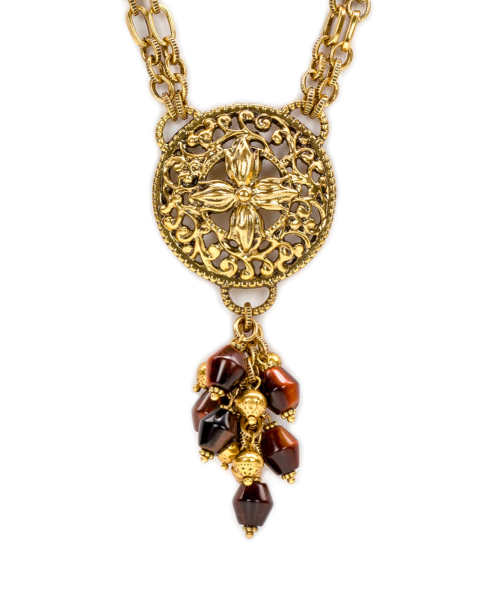 Floret Medallion Red Tiger's Eye Dangle Necklace 2