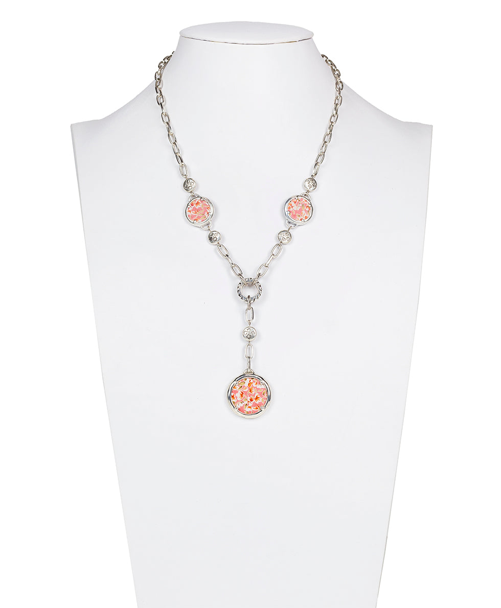 Soline Triple Charm Necklace - Leather Inset