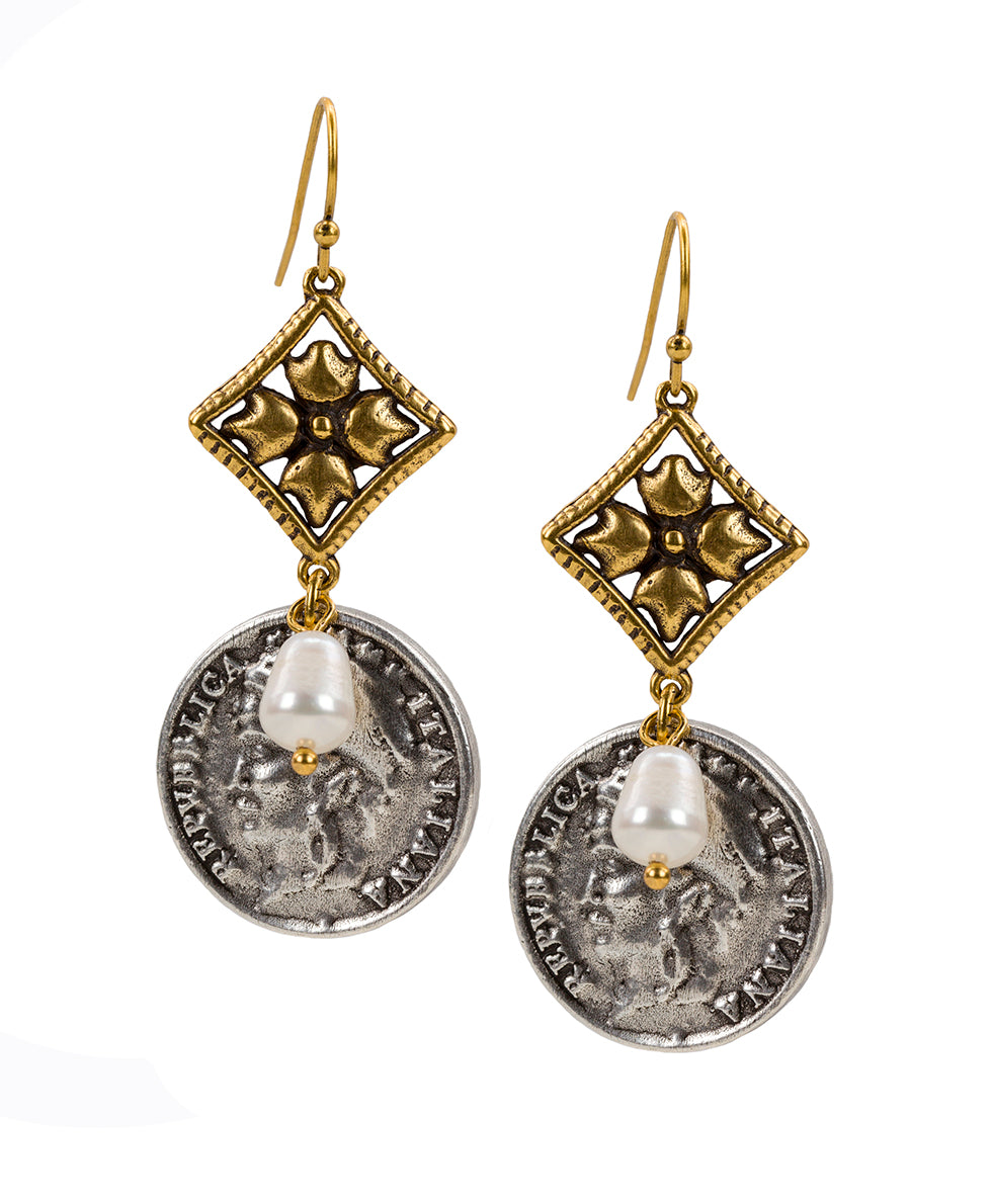 World Coin Double Caged Floret Italiana Earrings 1