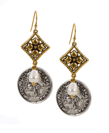 World Coin Double Caged Floret Italiana Earrings - World Coin Double Caged Floret Italiana Earrings