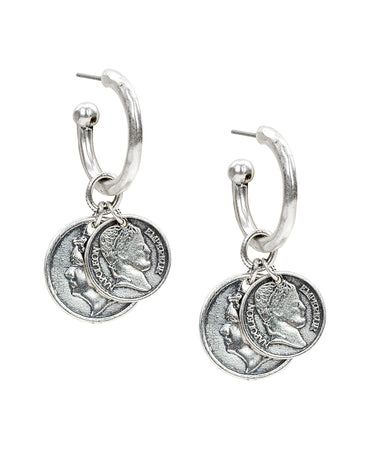 Coin Drop Hoop Earrings - Coin Drop Hoop Earrings