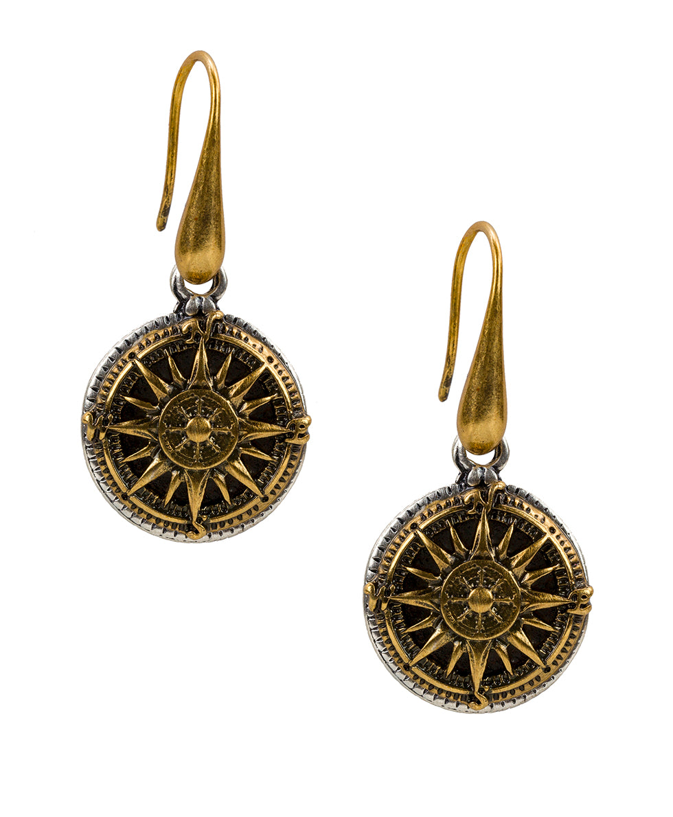 Compass Drop Earrings - Russian Gold