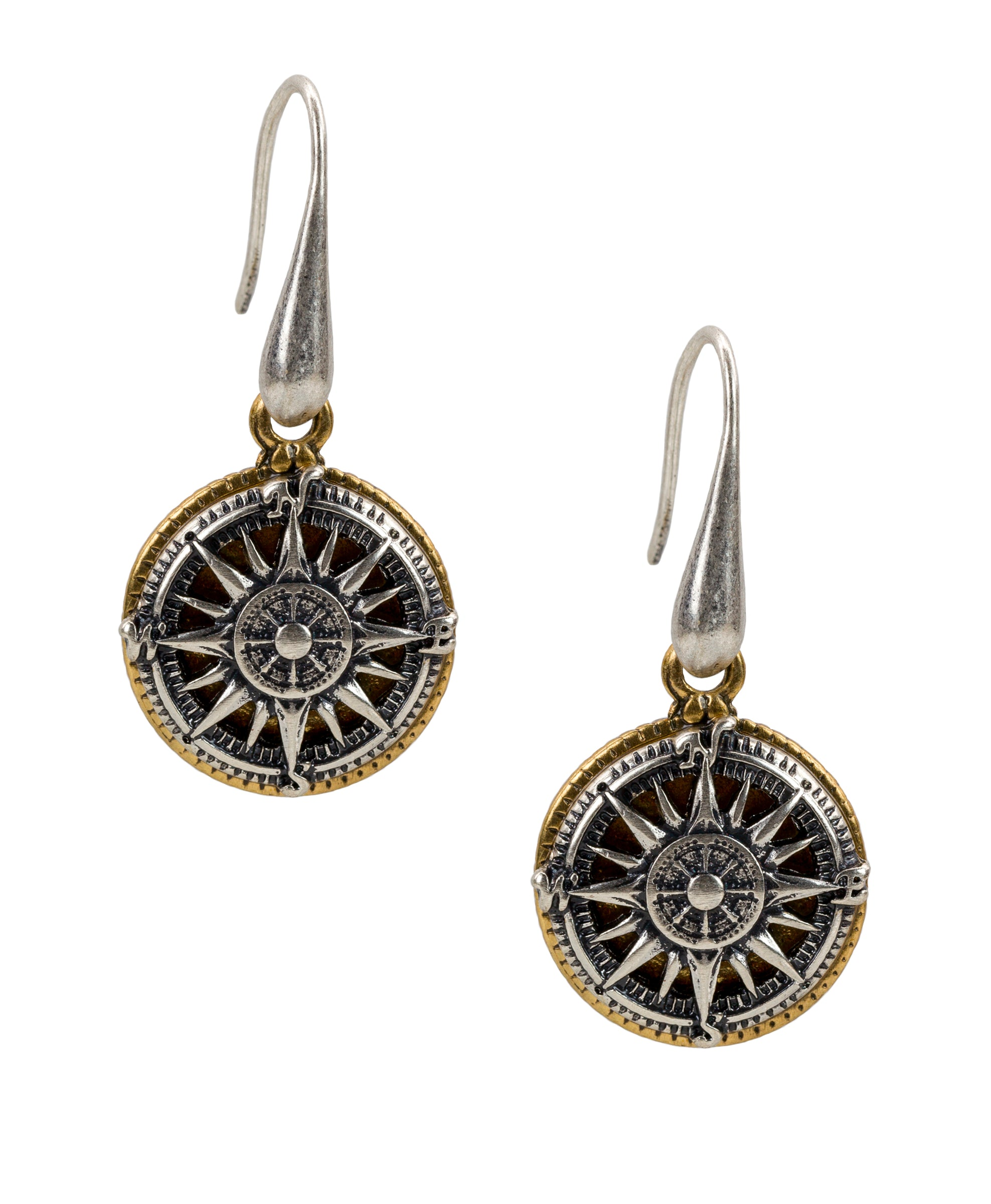 Compass Drop Earrings - Silver Ox 1