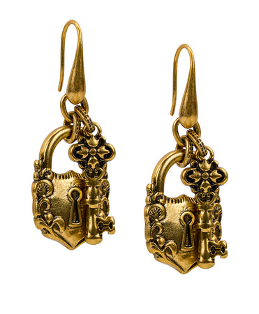 Lock & Key Earrings - Russian Gold
