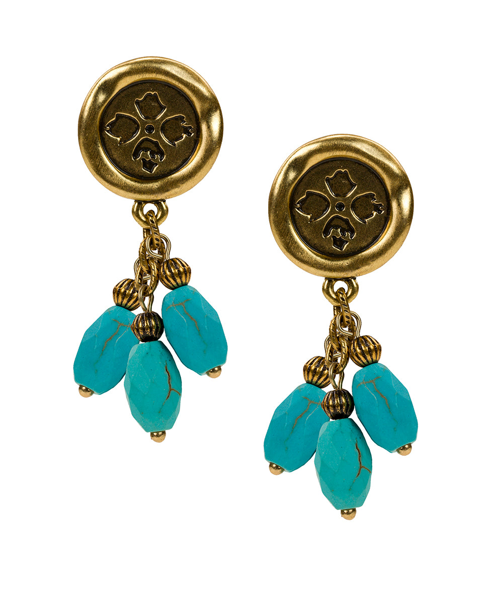 Wax Charm Three Stone Earrings - Turquoise/Russian Gold