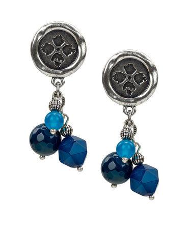 Wax Floret Charm Stone Earrings - Wax Floret Charm Stone Earrings