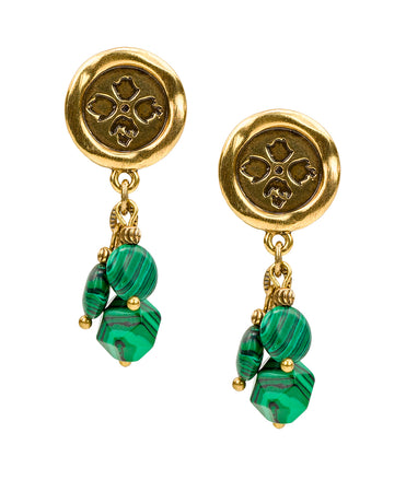 Wax Charm Stone Earrings - Malachite Stone - Wax Charm Stone Earrings - Malachite Stone