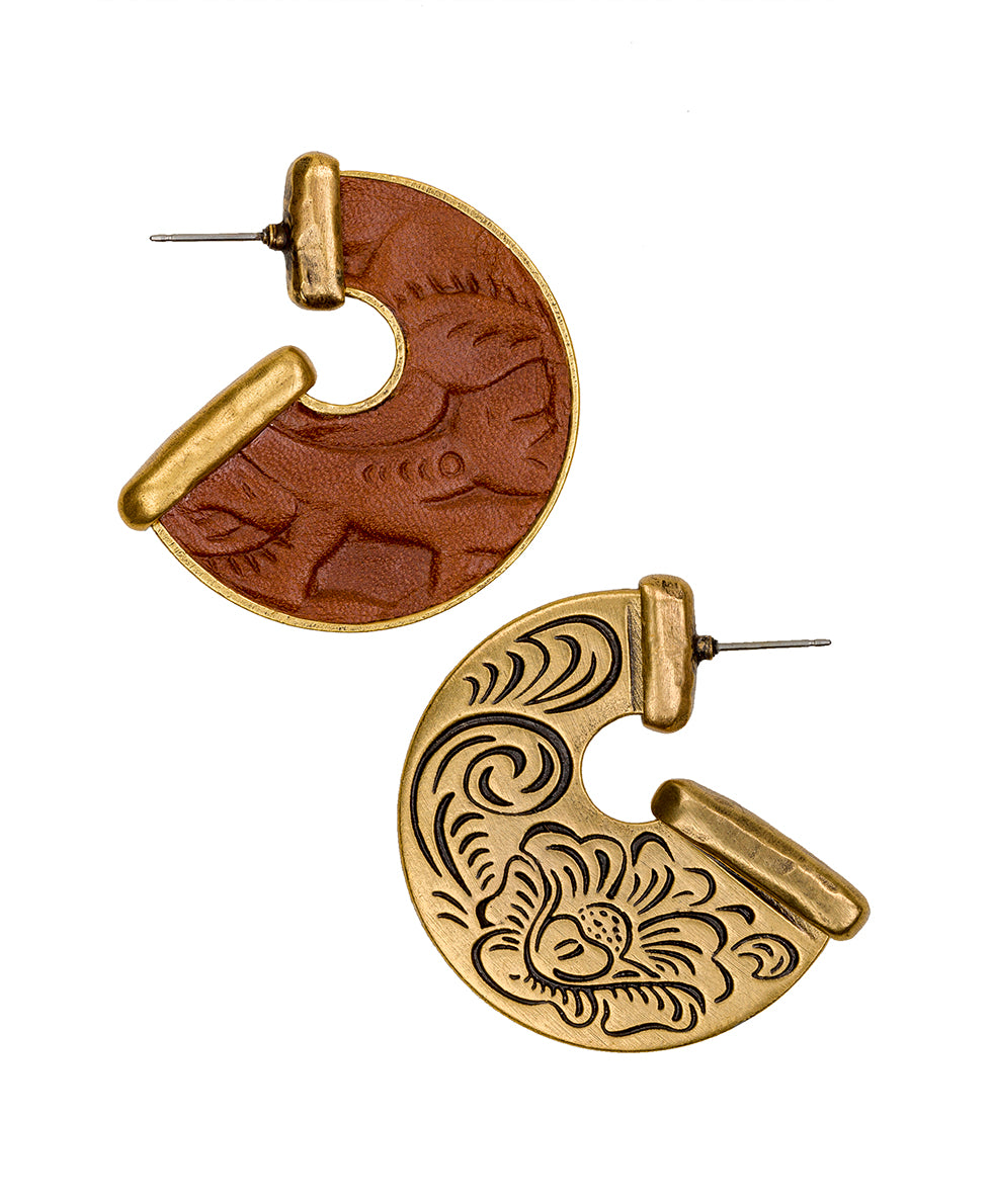 Amelia Florence Leather Inset Earrings - Amelia Florence Leather Inset Earrings