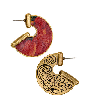 Amelia Multi Leather Inset Earrings