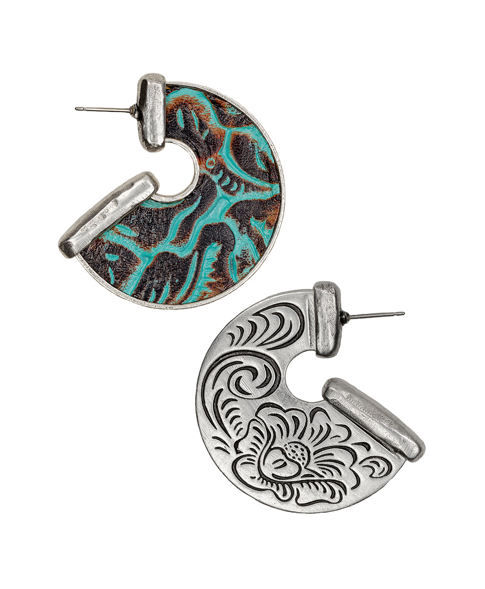 Amelia Turquoise Leather Inset Earrings
