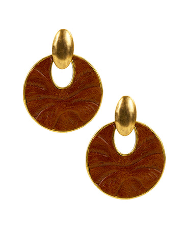 Simone Doorknocker Earrings - Tooled Florence - Simone Doorknocker Earrings - Tooled Florence