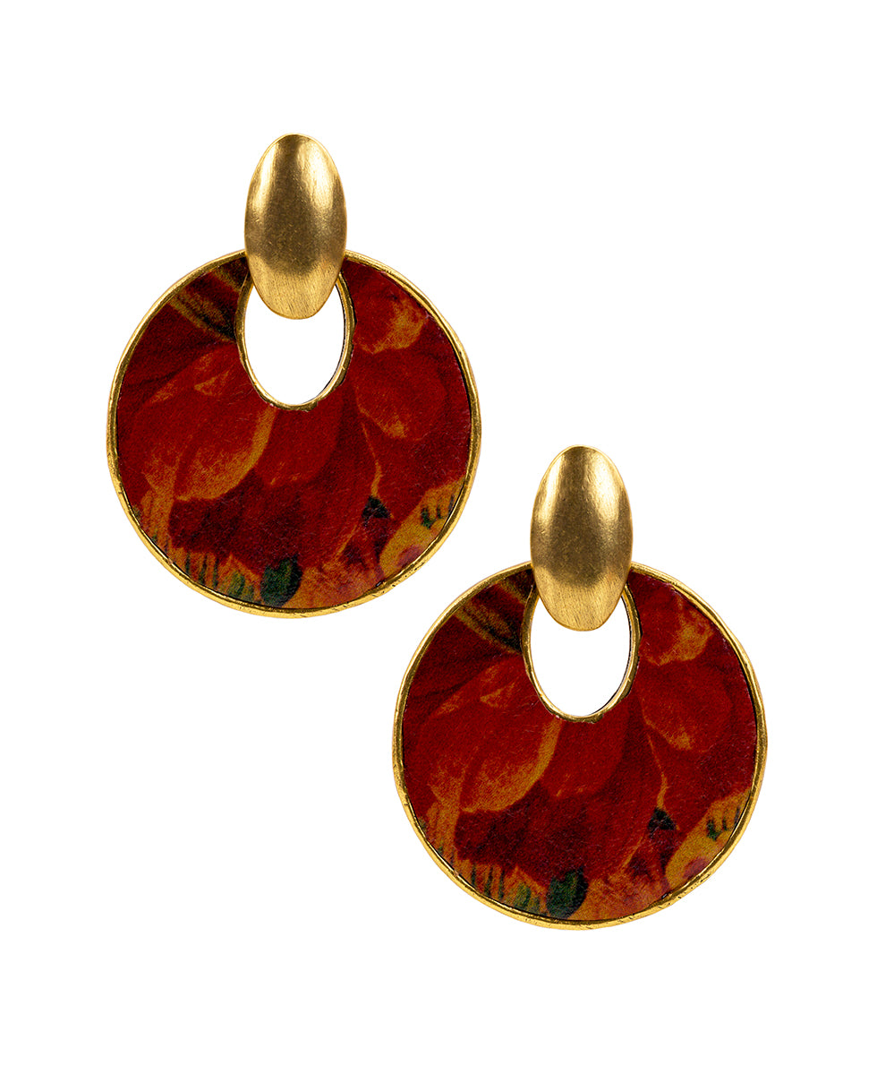 Simone Leather Inset Earrings - Multi