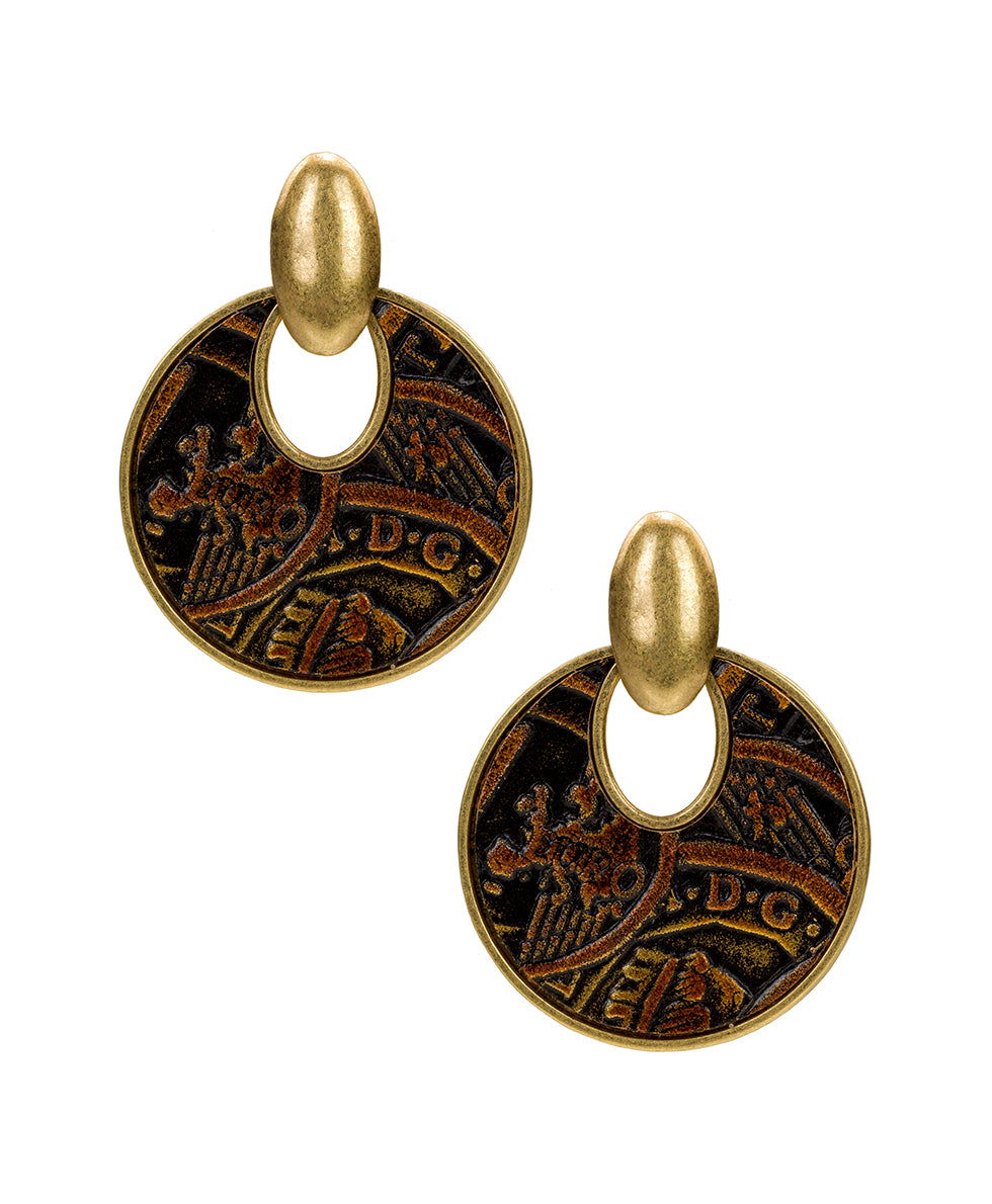 Simone Doorknocker Earrings - Coin Tooled Bronze