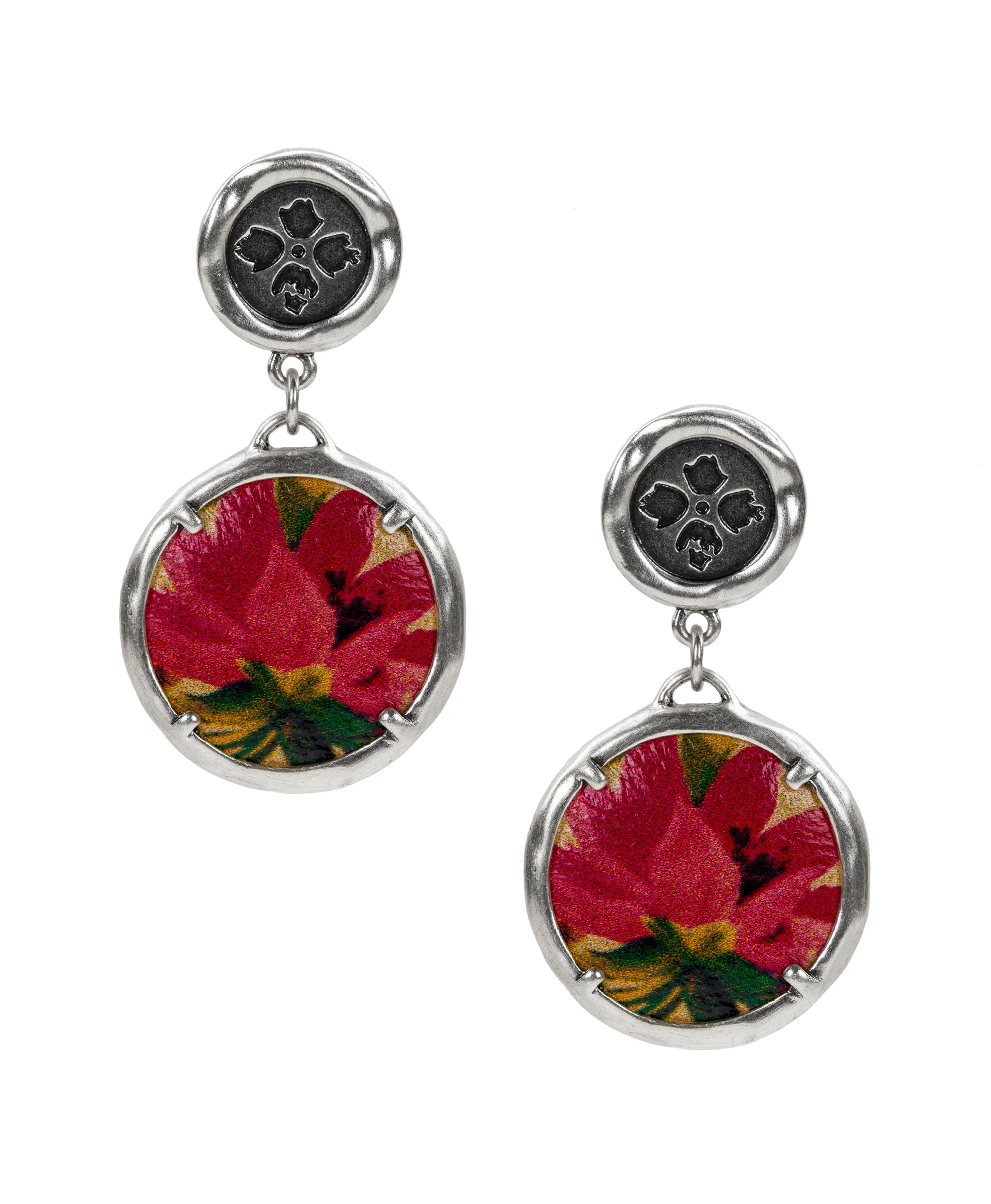 Leather Inset Double Drop Earrings - Spring Multi