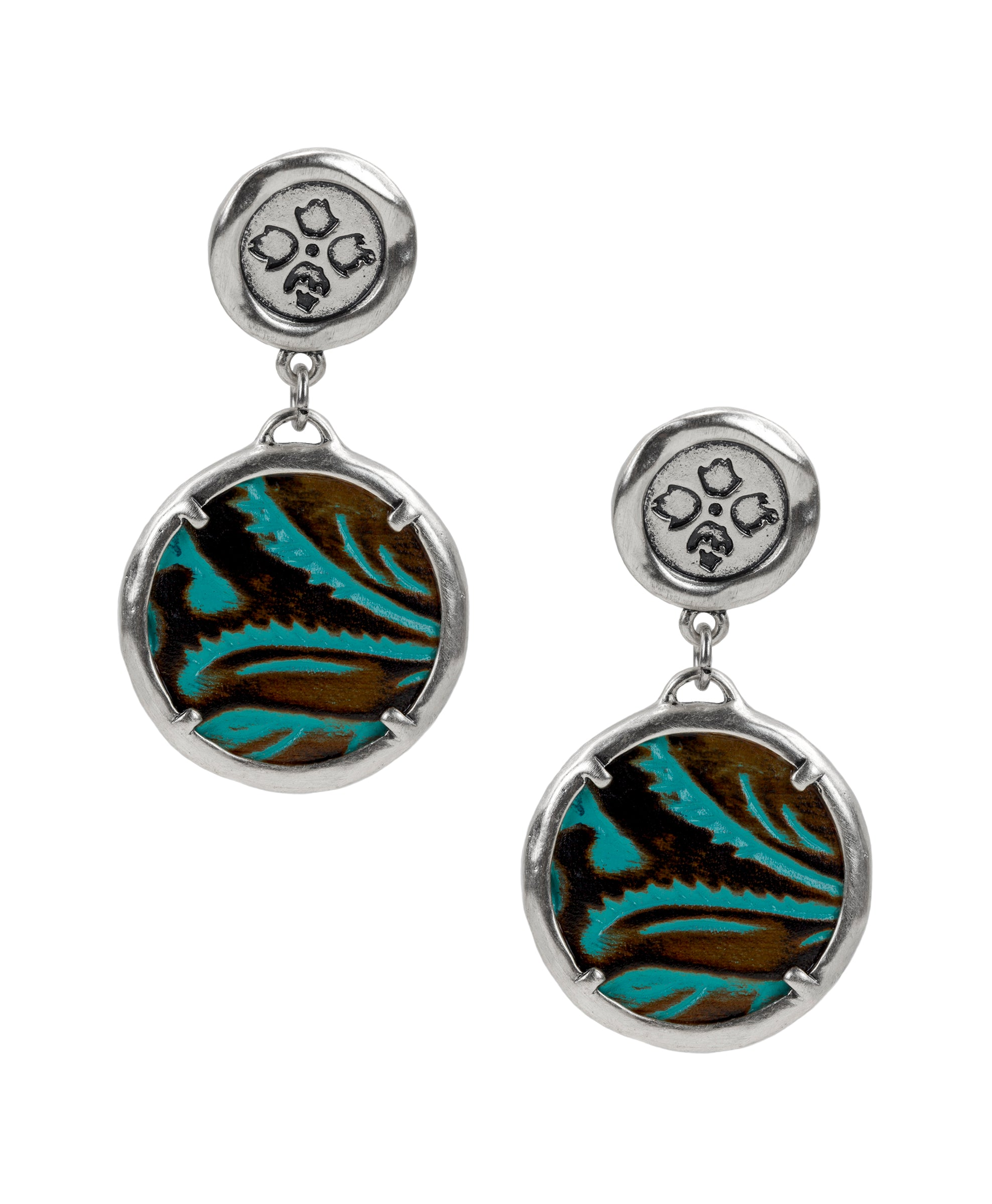 Leather Inset Double Drop Earrings - Tooled Turquoise