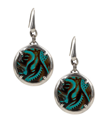 Leather Inset Earrings - Tooled Turquoise