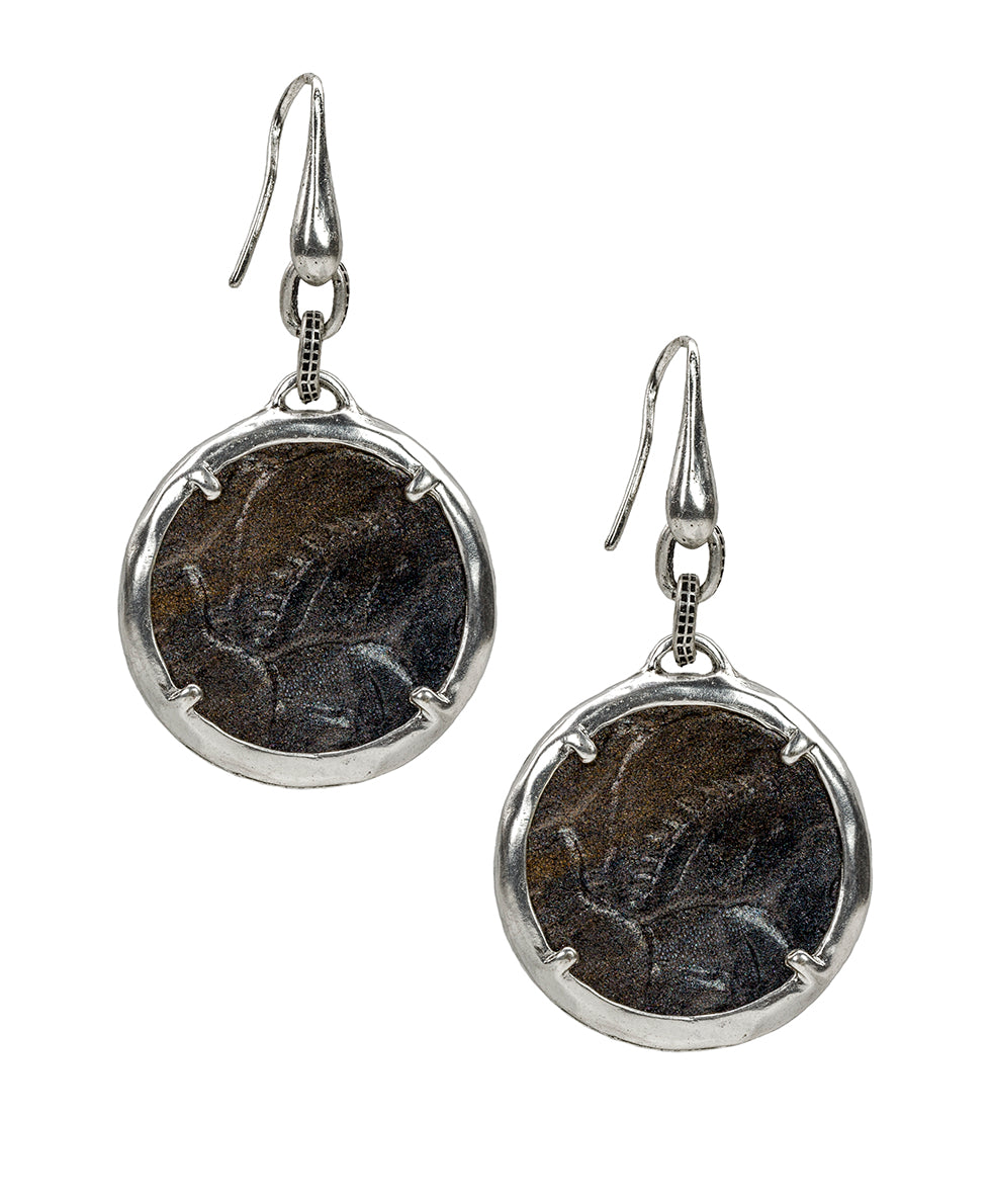 Elena Earrings - Tooled Antique Silver