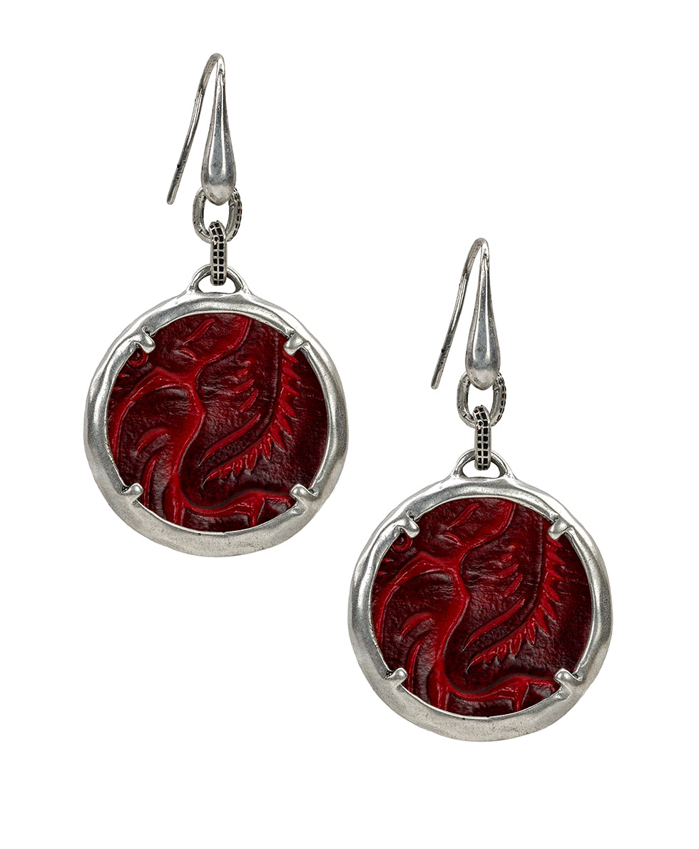 Elena Earrings - Tooled Berry Red