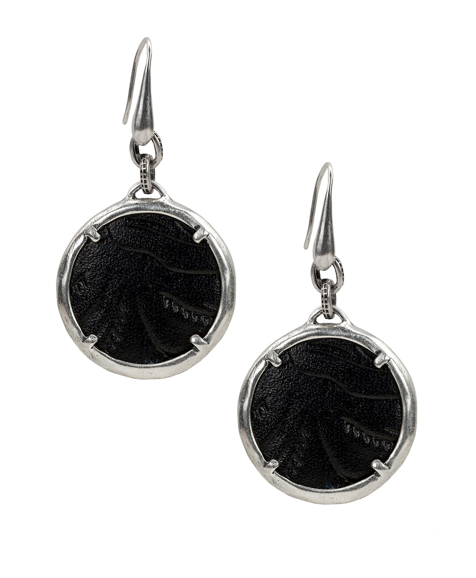 Elena Earrings - Tooled Black 1