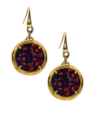 Elena Leather Charm Earring - Fall Tapestry - Elena Leather Charm Earring - Fall Tapestry