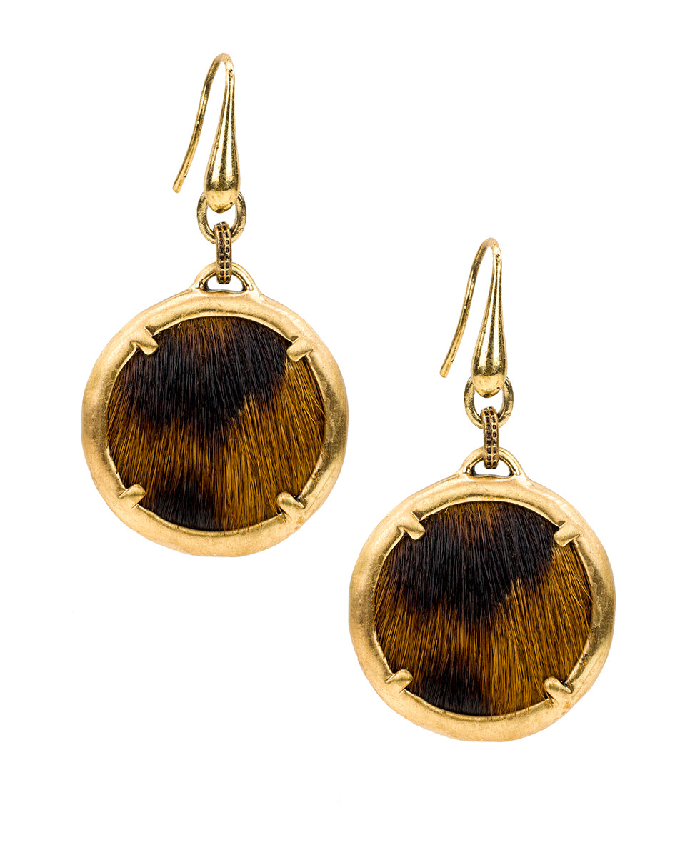 Elena Earrings - Leopard Haircalf