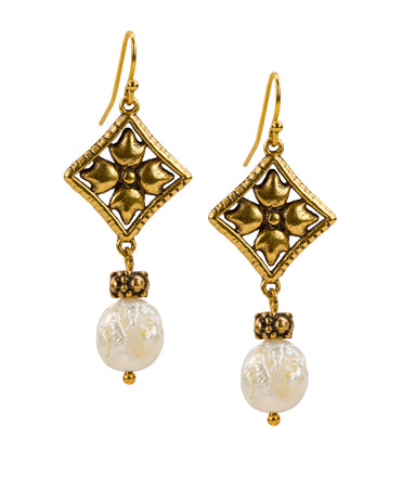 Floret Pearl Dangle Earrings - Russian Gold