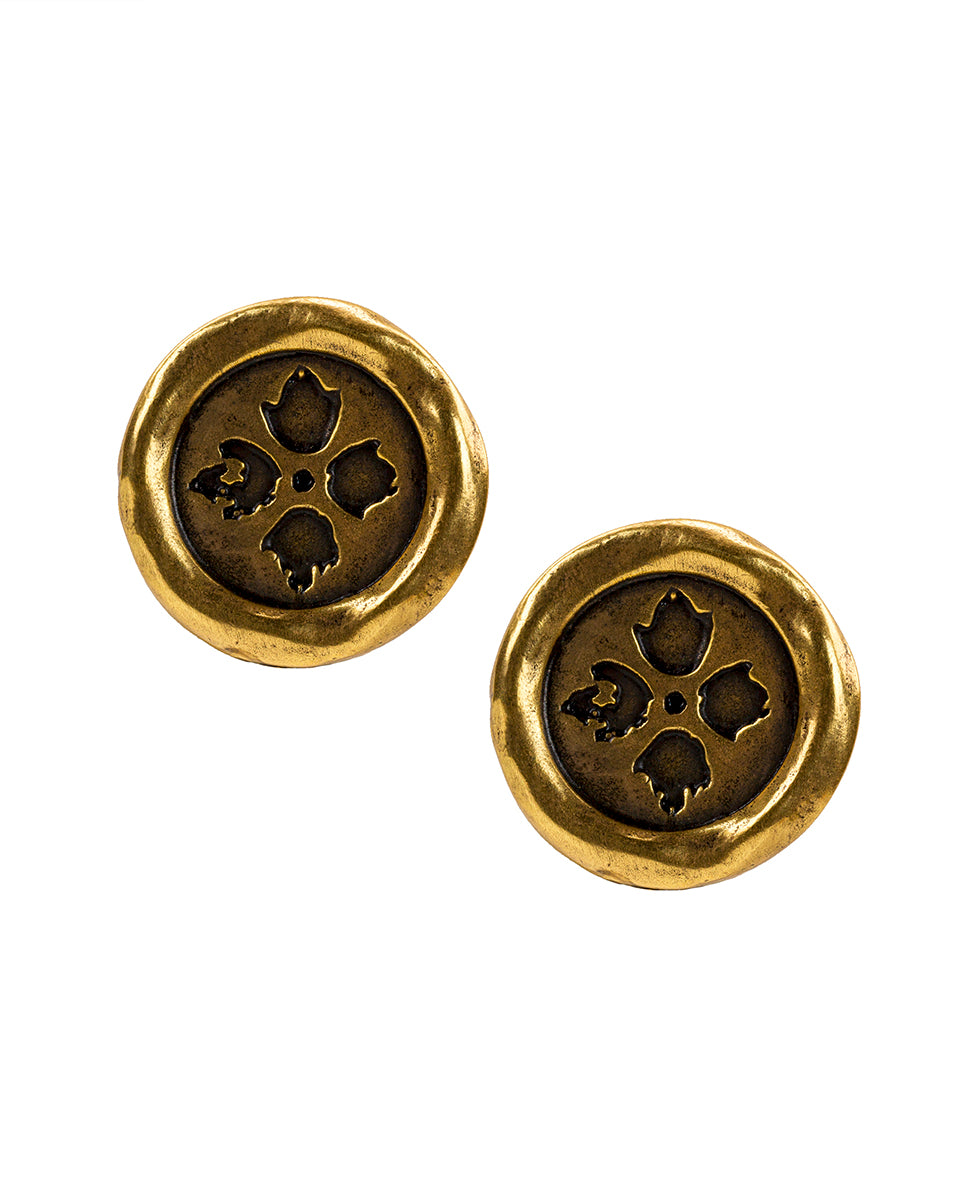 Floret Charm Wax Charm Earrings - Russian Gold