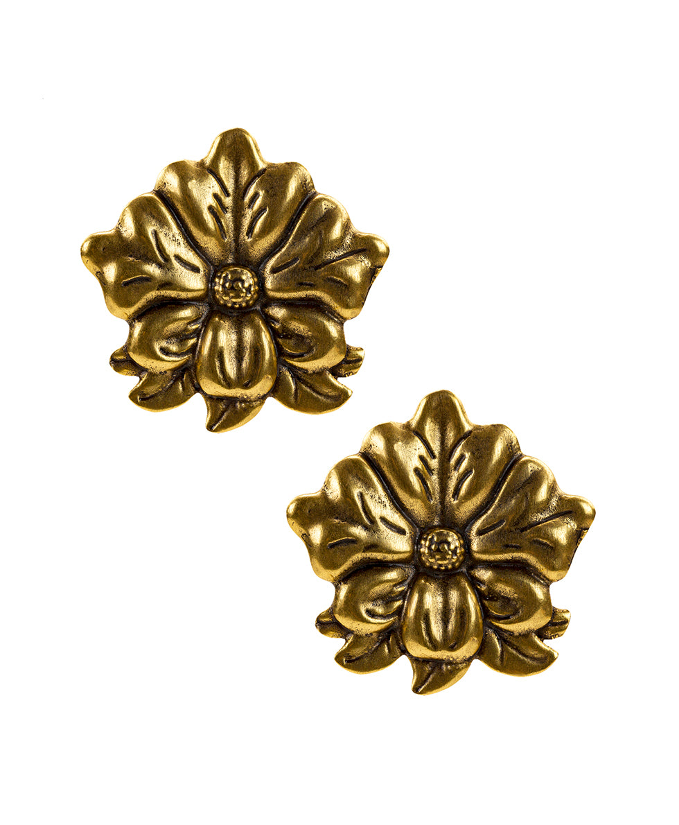 Tooled Flower Earrings - Russian Gold