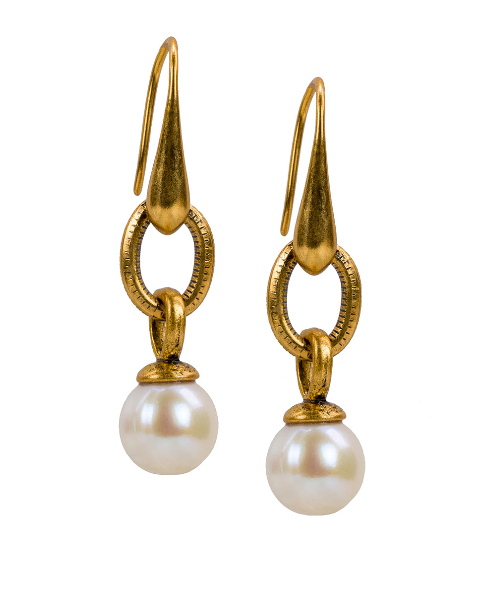 World Coin Pearl Drop Earrings