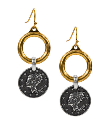 World Coin Hoop Drop Earrings - Russian Gold
